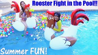 Fun Family Swimming Pool Party! Fun Pool Playtime with Kids! Rooster Fight in the Pool!
