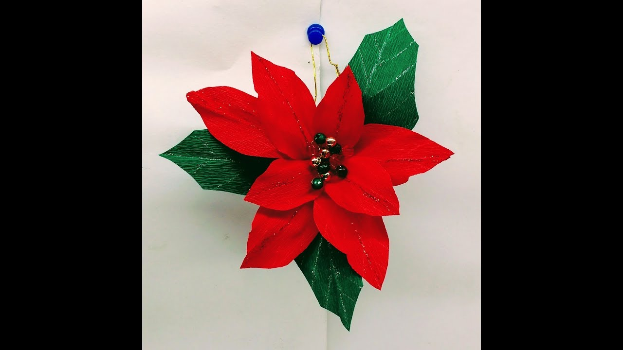 Diy How To Make Christmas Poinsettia Decoration Youtube