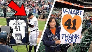 There IS crying in baseball -- Victor Martinez retirement ceremony at Comerica Park