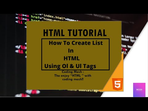 Html Tutorial : How To Make A List In Html Using Ul And Ol Tags|ul And Ol Tags??..|coding Mesh..