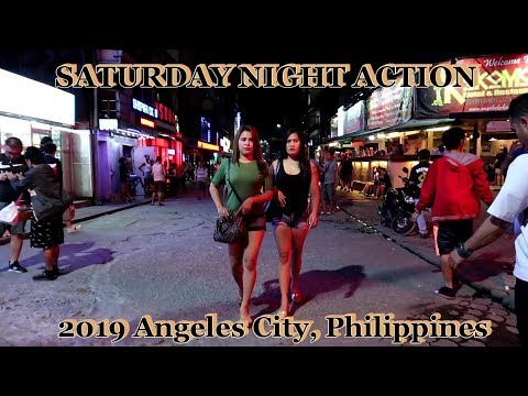 SATURDAY NIGHT ACTION - Walking Street/Fields Ave : 2019 Angeles City, Philippines