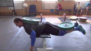 Klokov Dmitry & Rigert V   new exercise for back  4.07.2013