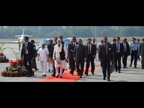 Prime Minister Shri Narendra Modi arrives at Ahmedabad Airport