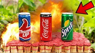 EXPERIMENT 50,000 SAFETY MATCHES vs COCA COLA-SPRITE-THUMBS UP SODA CAN