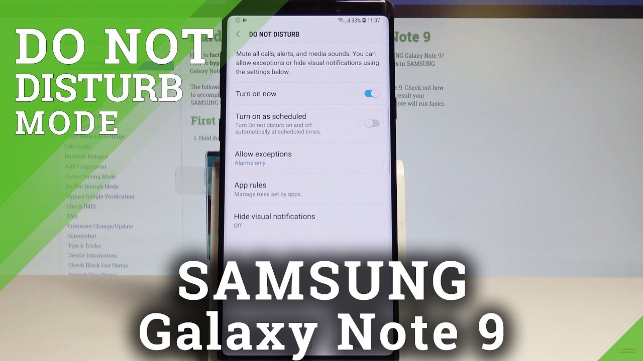 How to Enable Do Not Disturb on SAMSUNG Galaxy Note 9 - Mute Sounds / Allow  Exceptions