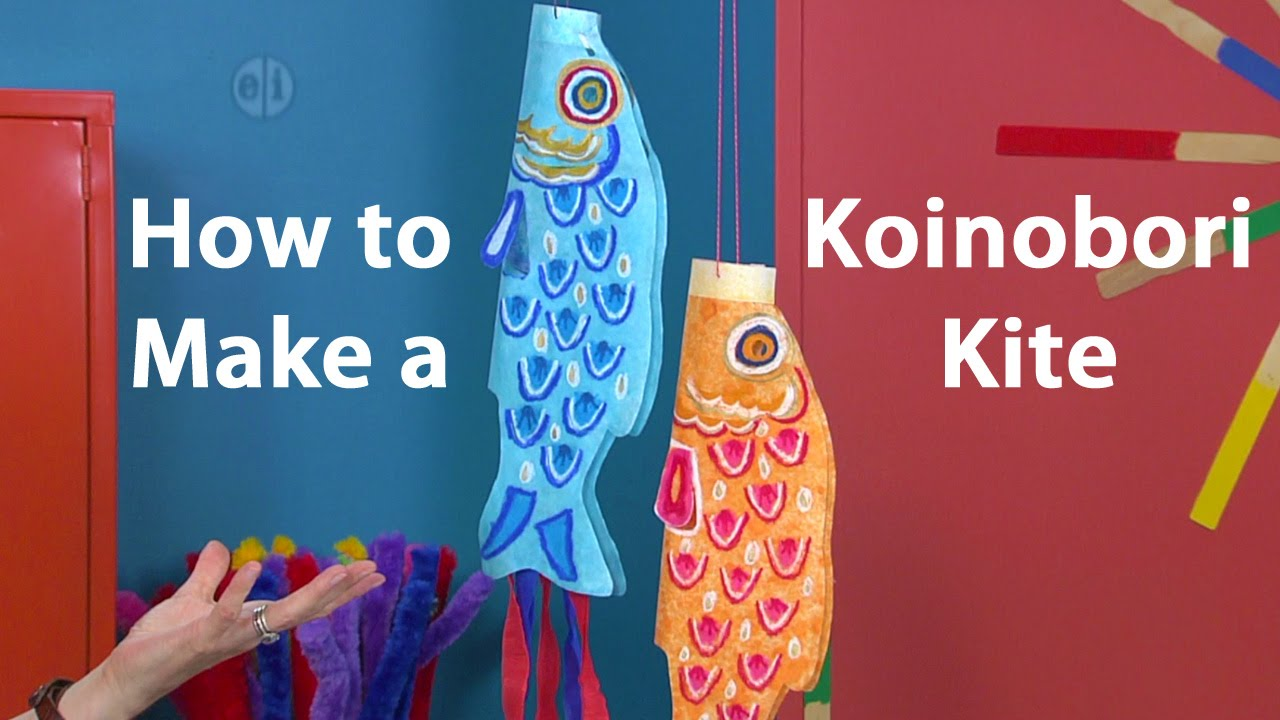 How to Make a Koinobori Japanese Kite: Oil Pastel Tutorial - YouTube