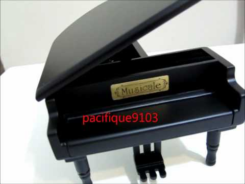 Wooden Black Piano Music Box with Black Pedals - Spirited Away Ghibli