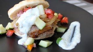 Yogurt-Marinated Lamb with Tomato-Cucumber Relish Pita Sandwiches