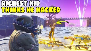 Richest Kid Thinks I HACKED HIM! 😱 (Scammer Gets Scammed) Fortnite Save The World