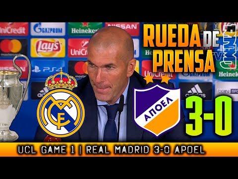 Real Madrid 3-0 Apoel Rueda de prensa de ZIDANE Champions (13/09/2017)