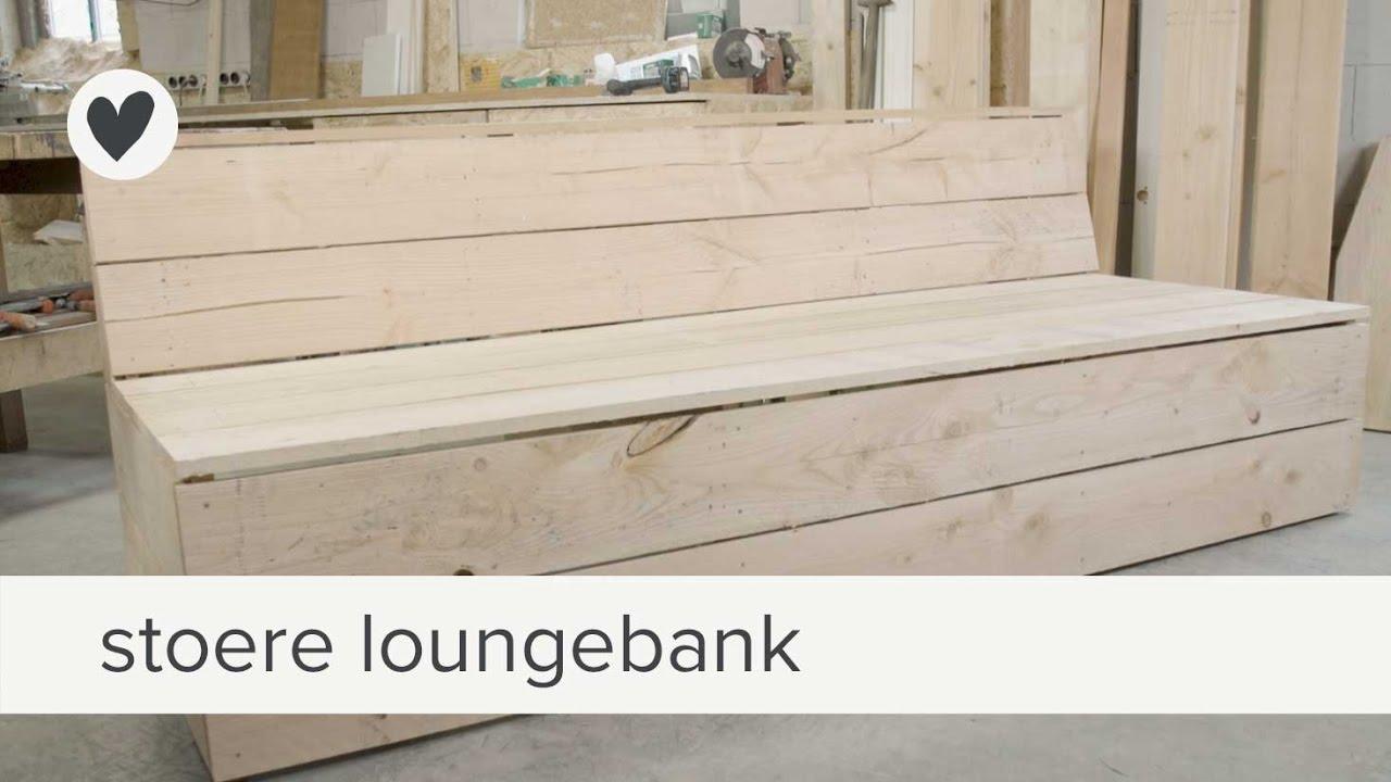 stoere loungebank van hout  diy vtwonen  YouTube