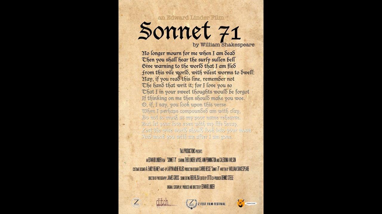 sonnet 71 Sonnet 71, by shakespeare read by jamie muffett.