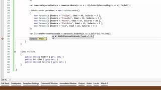 Utilizamos la función OrderBy para ordernar elementos de manera asc...