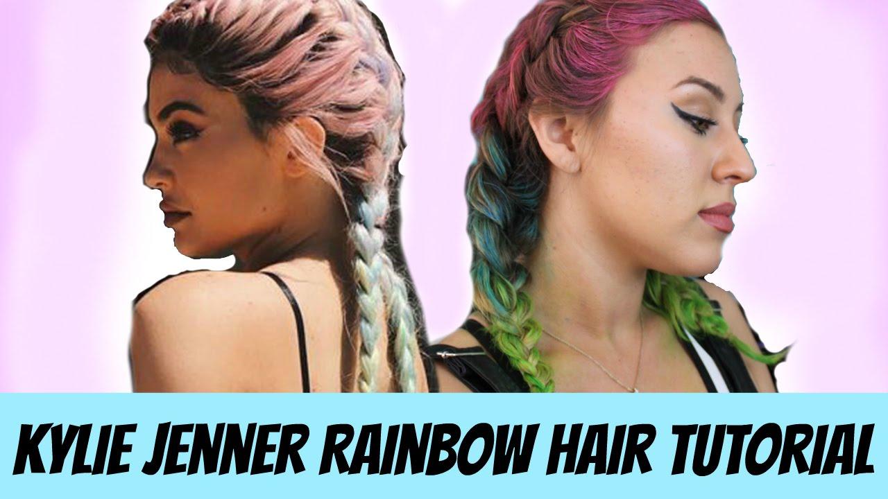 Kylie Jenner Rainbow Hair Tutorial Hair Chalking Youtube