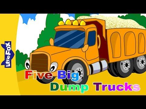 Five Big Dump Trucks | Song for Kids | By Little Fox