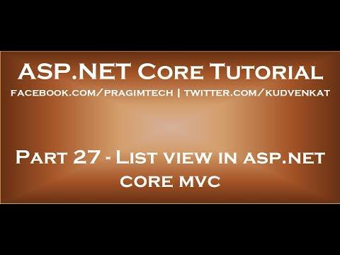 List view in asp net core mvc youtube.