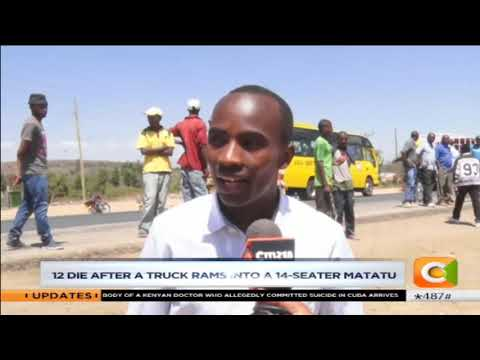 12 die after a truck rans into a 14-seater matatu at  Kikopey accident