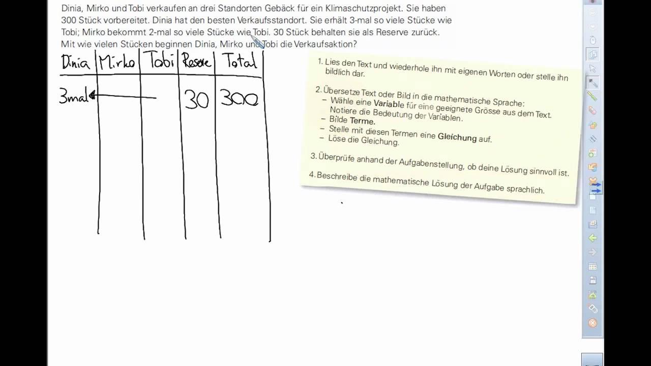 Textaufgaben lösen mit Gleichungen - YouTube