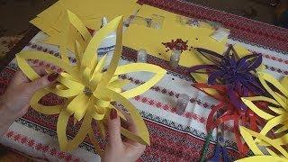 Объемные цветы из бумаги поделки своими руками(Создание объемной снежинки из бумаги своими руками и цветов из бумаги - очень увлекательное и полезное..., 2014-02-03T10:07:33.000Z)