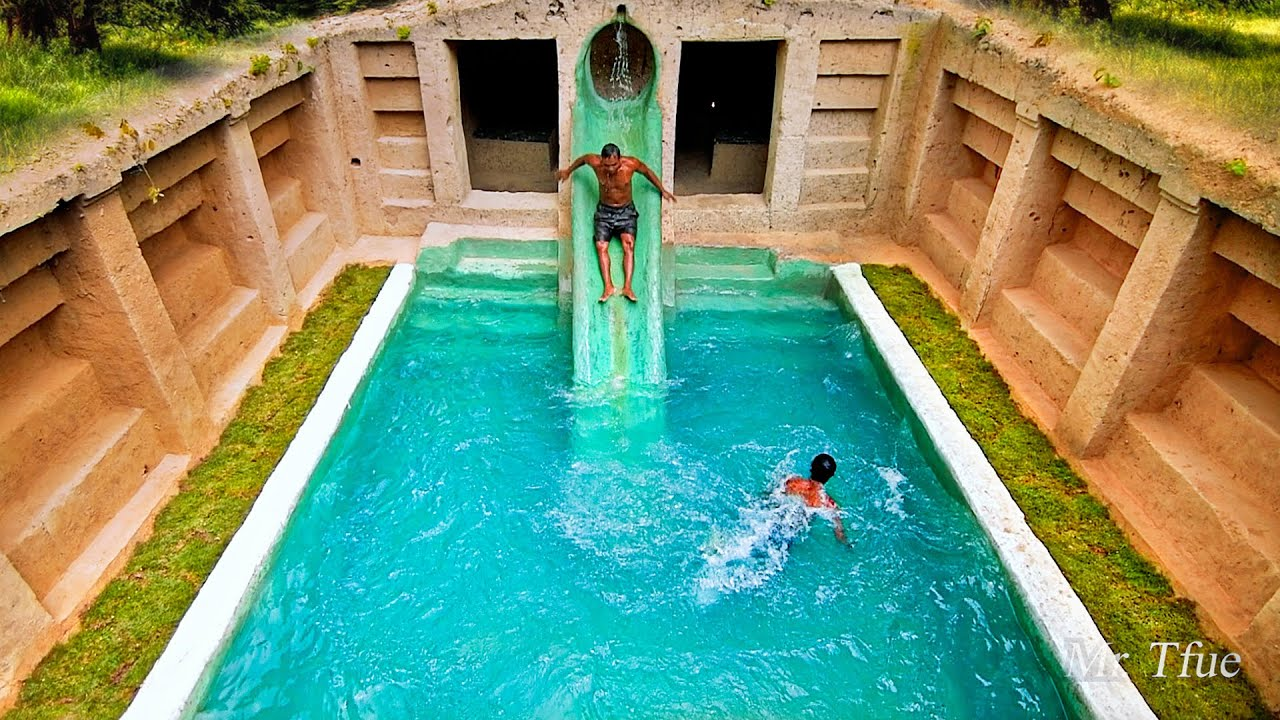 90 Days Built Underground Temple Tunnel and Water Slide Pool