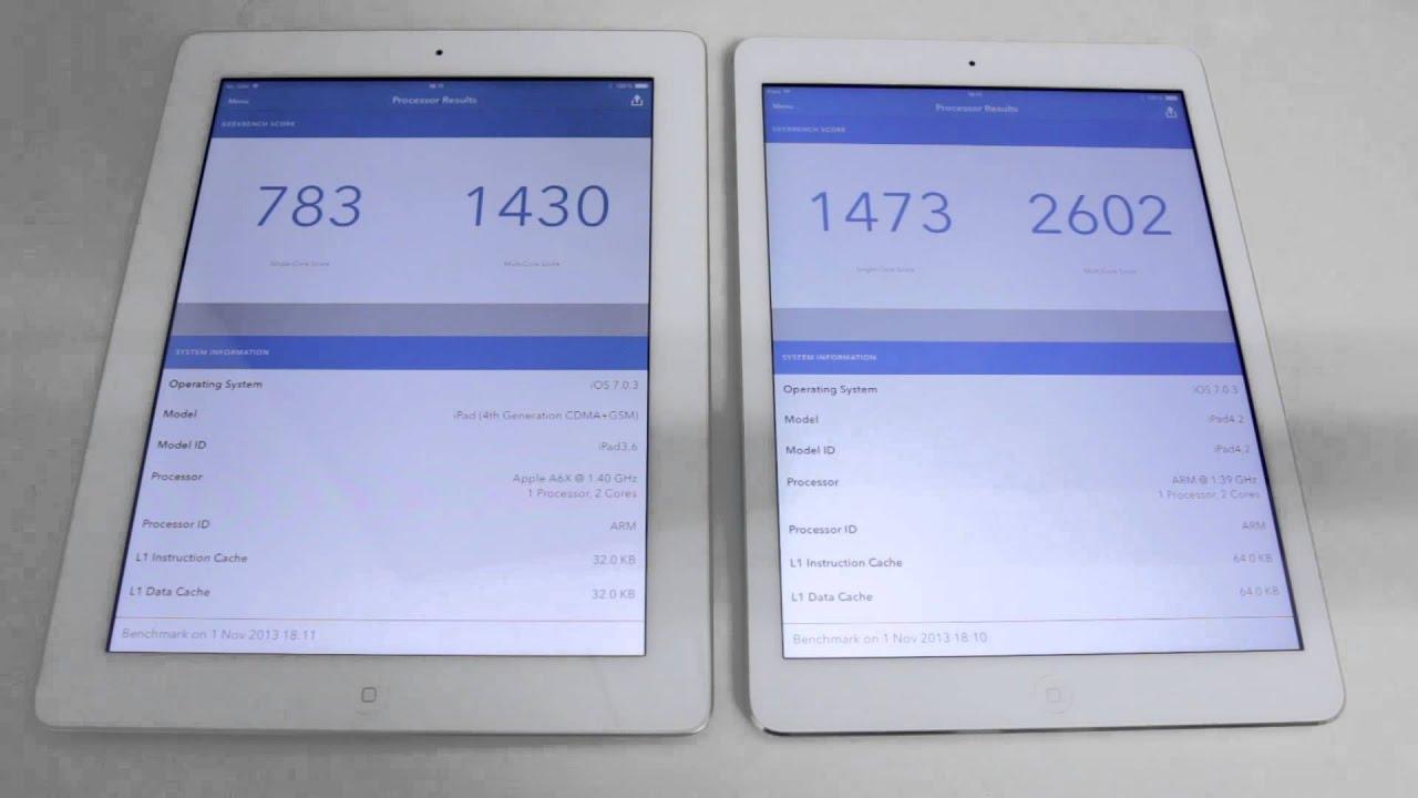 Apple iPad Air vs iPad 4 Performance Comparison - YouTube