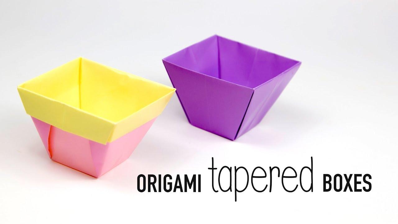 tapered origami box origami flower pot paper kawaii youtube. Black Bedroom Furniture Sets. Home Design Ideas