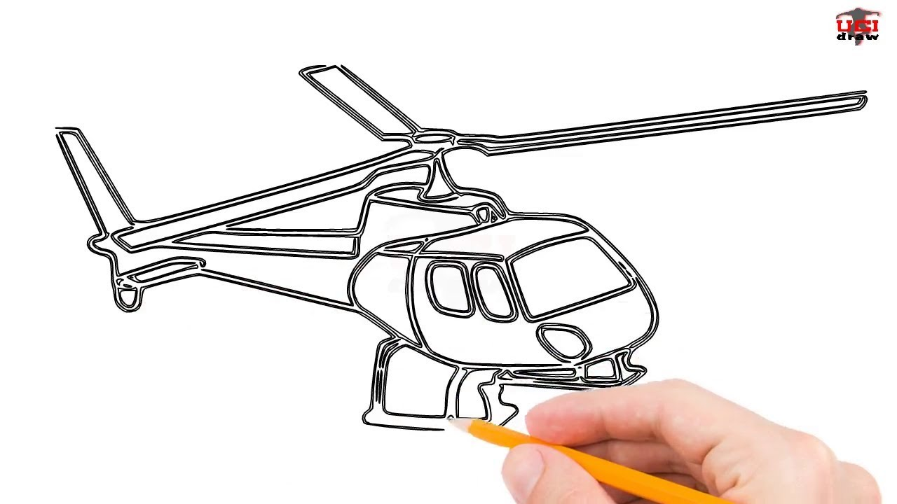How to draw a helicopter step by step easy for beginners kids simple helicopters drawing tutorial