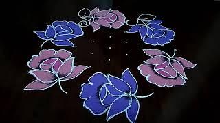 Simple and easy beautiful flower design rangoli 9×5 Dot's.