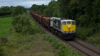 083 on Westport-Waterford laden timber train near Castlebar 230710