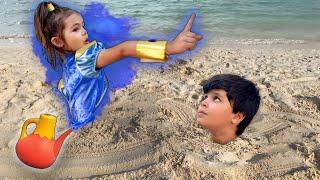 Kai Realiza Desejo de Ir à Praia e Ganha Pula-Pula com Escorregador Inflável