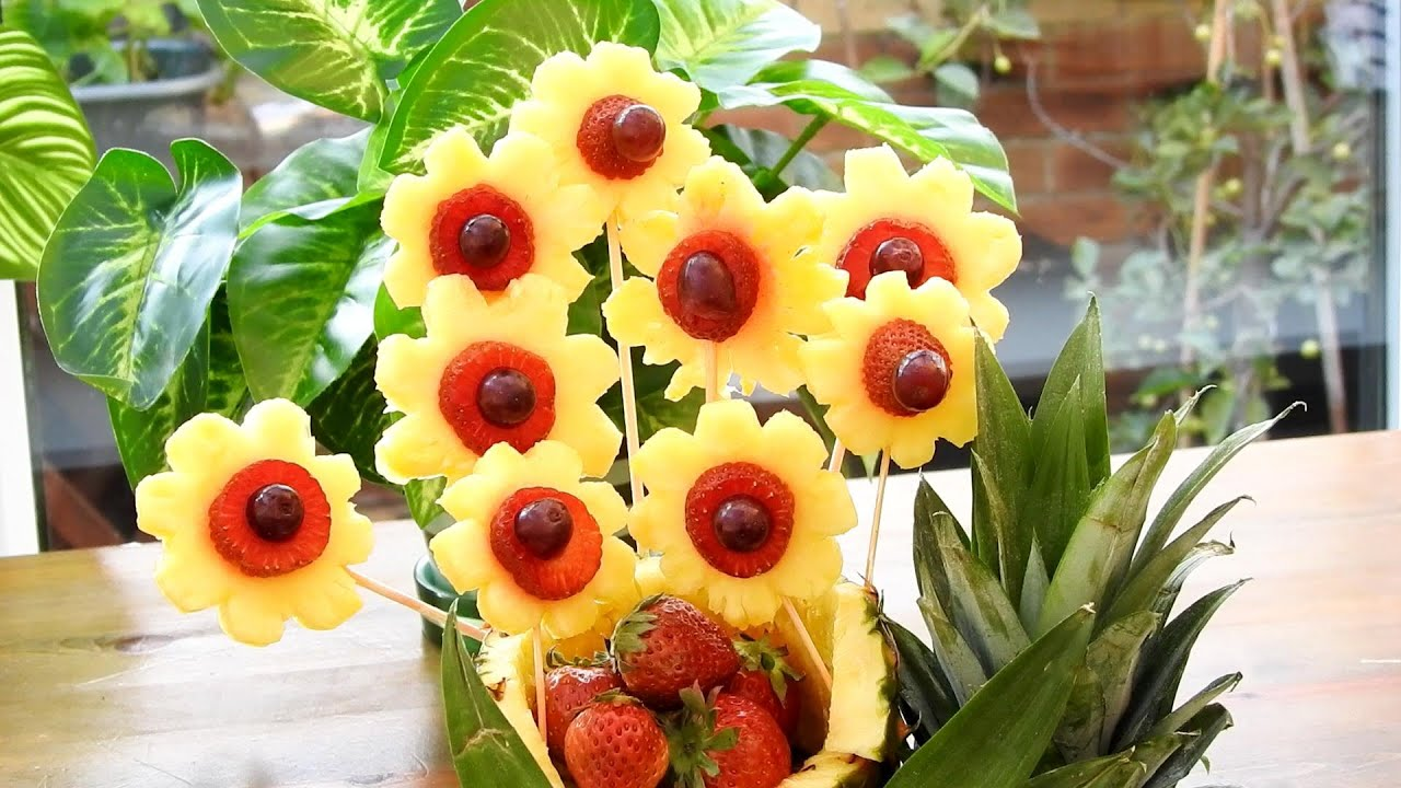 Art In FRUIT CARVING AND CUTTING | Food Decoration | Pineapple Sunflower Garnish