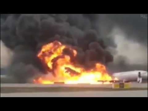 SSJ -100 fire on RWY at Moscow airport UUEE
