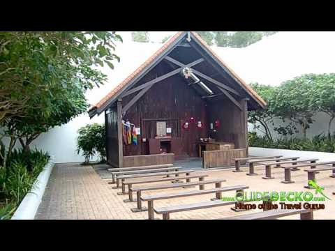 Panoramic view of replica of chapel at Changi Prison Museum and Chapel