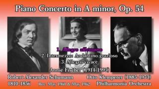 Schumann: Piano Concerto, A. Fischer & Klemperer (1960) シューマン ピアノ協奏曲 フィッシャー