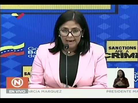 Delcy Rodríguez, rueda de prensa sobre demanda a EEUU ante Corte Penal Internacional por sanciones