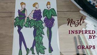 РИСУЕМ ЭСКИЗЫ ОДЕЖДЫ вдохновение фруктами ВИНОГРАД Fashion illustration speedpaint