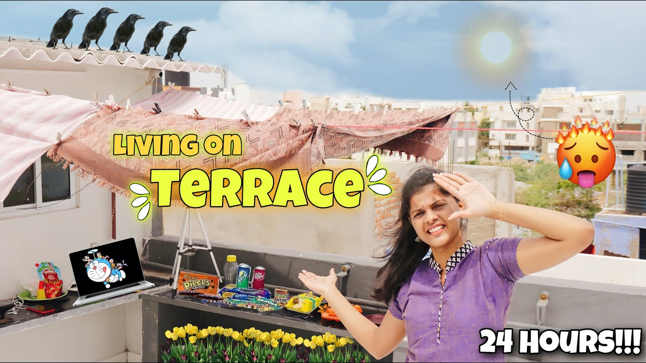 Living On TERRACE(Mottai Maadi) for 24Hours!!*this is what happened*🥺| Jenni's Hacks