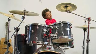 2-year-old drummer creates his own beat