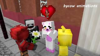 Mangle and Foxy Love Story - FNAF Minecraft Animation (Five Nights At Freddy's Monster School)