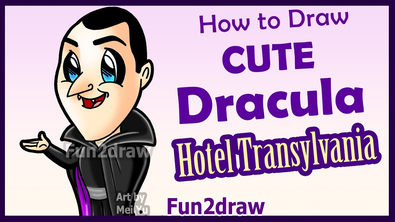how to draw cute dracula hotel transylvania fun facts halloween vampire fun2draw youtube - How To Draw Halloween Decorations