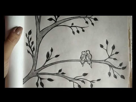How To Draw Cute Love Birds On Tree Pencil Sketch Easy Drawing Draw With Garima Youtube