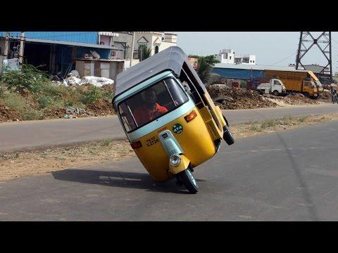 Man Breaks Record For Auto-Rickshaw Wheelie