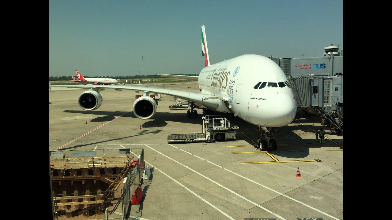 EK055 DXB-DUS Emirates A380-800 07.07.2015 Take Off- in Flight-Landing. Dubai-Düsseldorf