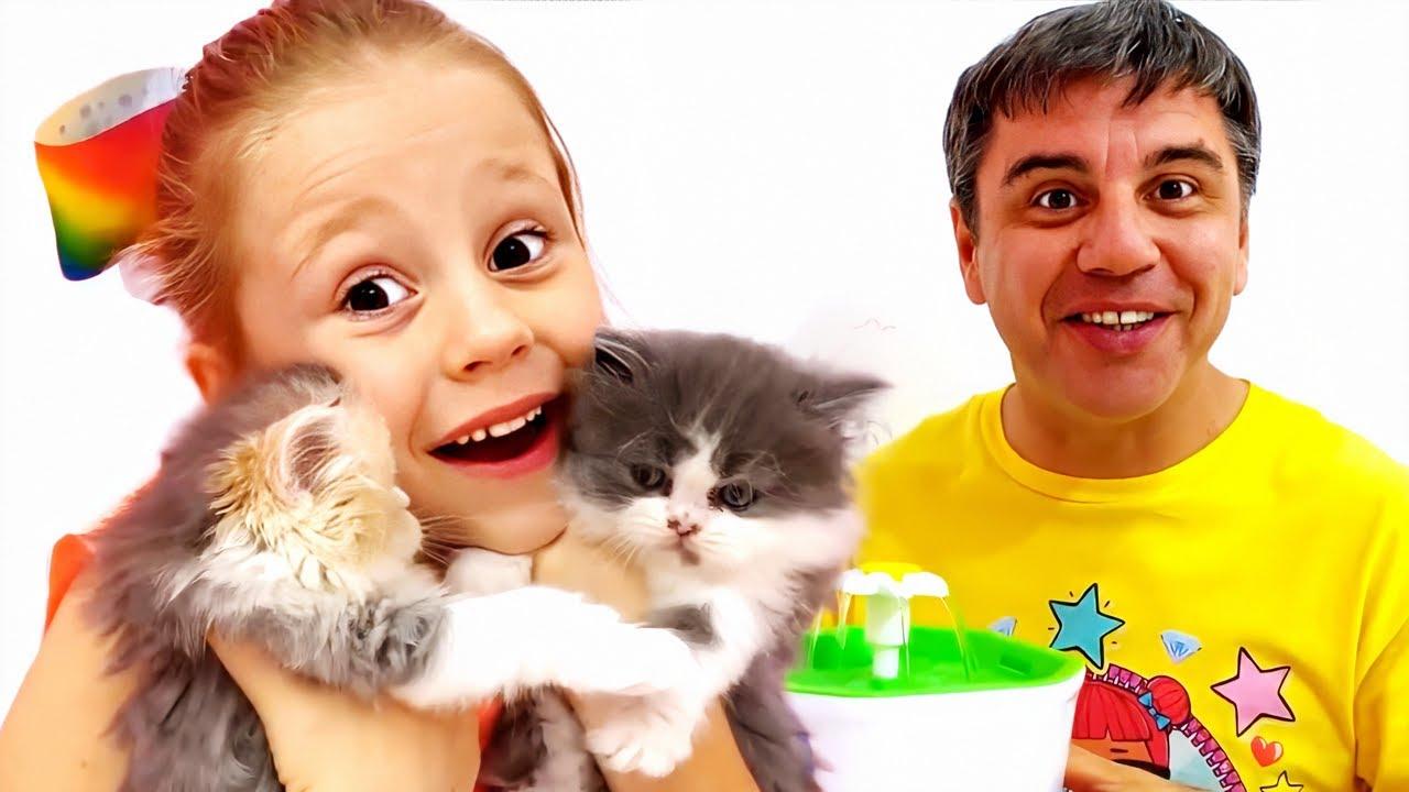 ناستيا لديه اثنين القطط الصغيرة، قصص عن كيف تعتني بقطة