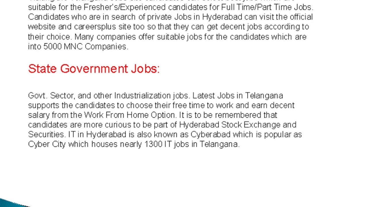 Latest Jobs in Telangana 2 - YouTube