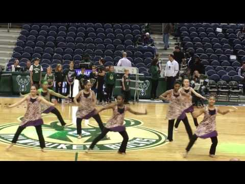 Above The Clouds 7/8 ballet students at Milwaukee Bucks game (Spring 2017)