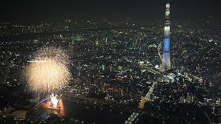 隅田川花火大会 夜空に浮かぶ花火とスカイツリー