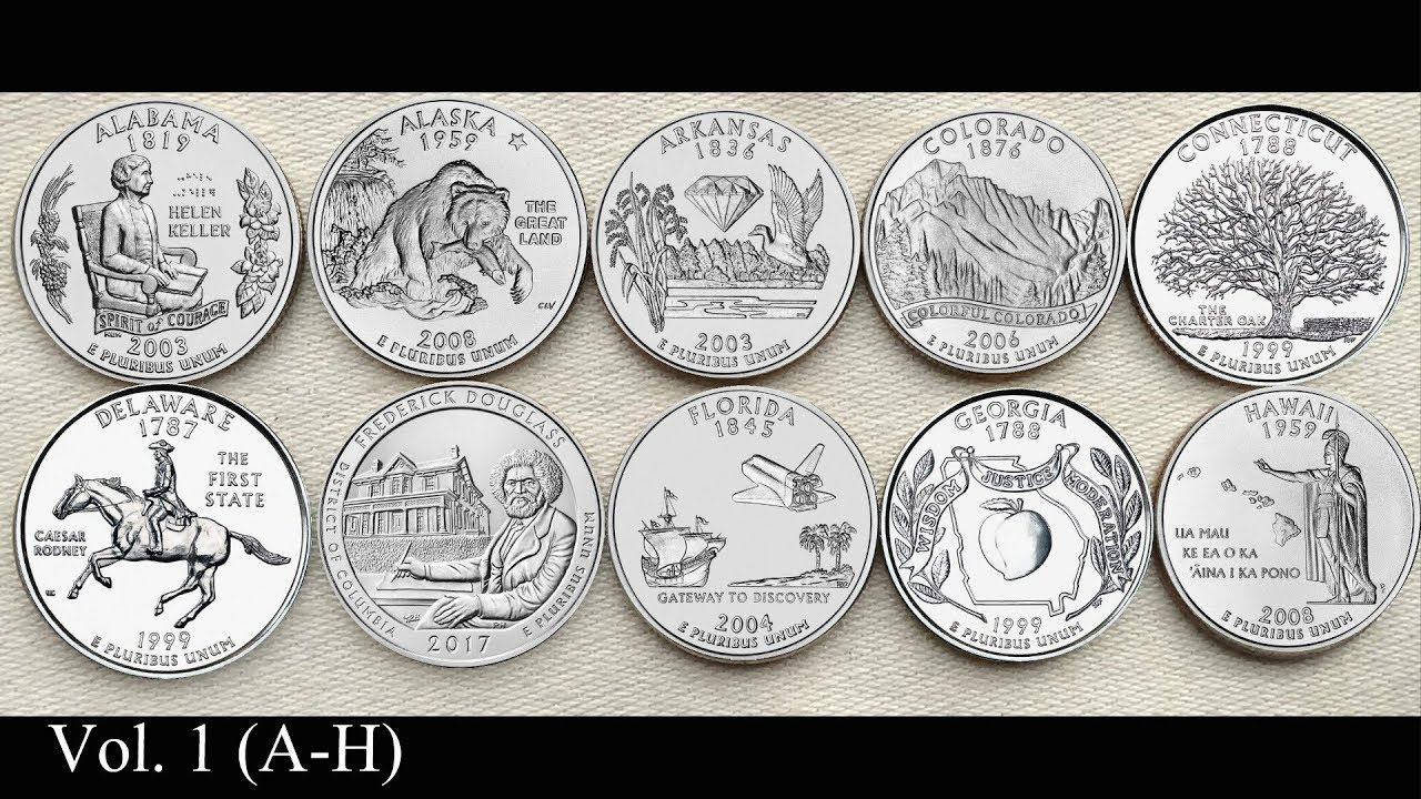 Usa States Alphabetical Order, United States Mints 50 State Quarters Coin Collection In Alphabetical Order Vol 1 A H, Usa States Alphabetical Order