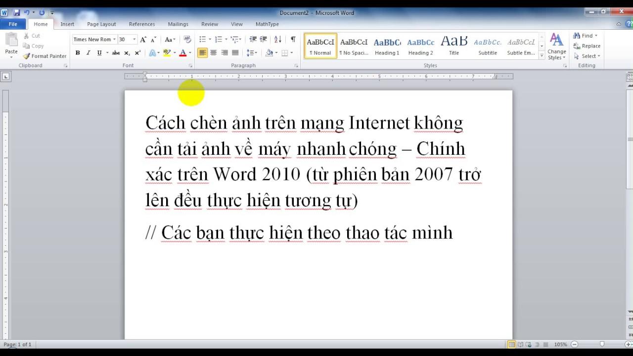 Cách chèn ảnh trên Word 2010