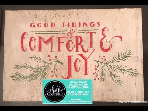 Chalk Couture Demo-Good Tidings Transfer on Antiqued Board!